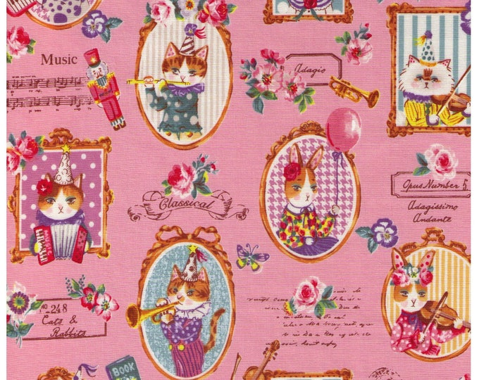 HALF YARD - Yuwa - Classical Music Kitties - Cats and Rabbits on PINK - Sobakasu-Kids - Grumpy, Party, Violin, Trumpet Quilting Cotton