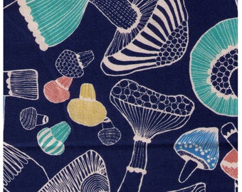 HALF YARD Cosmo - Large Scale Mushrooms on BLUE 85404-3D - Cotton Canvas - Japanese Import
