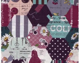 HALF YARD Yuwa - Hexagon Cheater in Teal, Plum, Grey - LARGE scale SZ826379 C - Suzuko Koseki - Paris Bonjour France Merci Modes Le Magazine