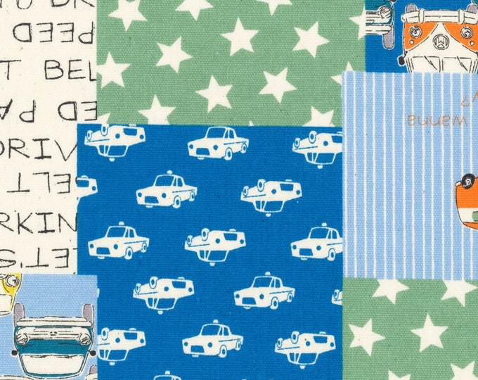 Sale (20) HALF YARD Lecien - Nico Nico Land - Volkswagen Cheater Blue/Green 40832-60 - Cotton Oxford - Star, Bus, Beetle, Car - Japanese