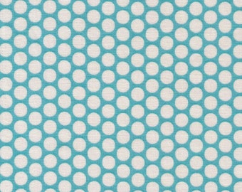 HALF YARD Yuwa Fabric - Kei Cream Honeycombs on Light Blue Background - Colorway 103 - Polka Dots by Kei - Japanese Import Fabric