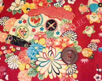 HALF YARD Yuwa -  Fan, Sakura, Chrysanthemum Flowers on Red - Cherry Blossom, Traditional Japanese Flowers, Geometric - Yukata 829317-B