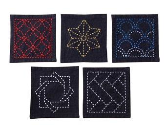 Olympus Sashiko Sampler - TSUMUGI SAMPLER on Navy Blue  - Set of Coasters - Hand Quilting Stitching- Japanese Traditional Design