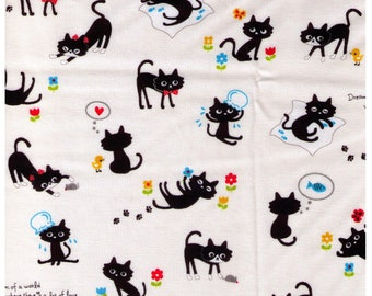 HALF YARD Cosmo Textile - Playful Dreaming Black Cat on Ivory - Fishbowl Fish, Flowers, Yarn, Love, Duck, Sending you Some Smiles
