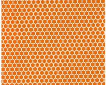 HALF YARD Yuwa Fabric - Kei Geostyle Hexacomb Orange Tangerine - Honeycombs Polka Dots by Kei - Japanese Import Fabric