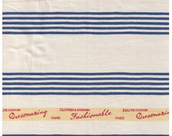 HALF YARD Yuwa - Ticking Stripe BLUE - Fashionable Paris Haute Couture Dressmaking Paris 916420-A - Suzuko Koseki - Japanese Import Fabric