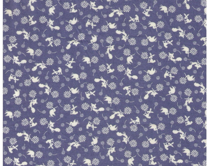 Sale (20) HALF YARD Woodland Mini Animals Toile on BLUE - Ditsy Cream Squirrel, Bird, Bunny. Flowers - Japanese Import