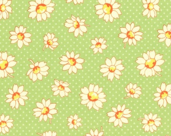HALF YARD - Flowers and Polka Dots on GREEN 31281-60 - Retro 30s Child Smile Collection Lecien - Red, Blue, Yellow, Daisy, Cherry, Daisies,