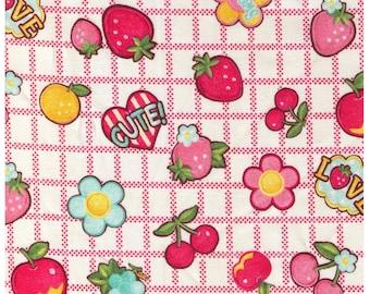 HALF YARD Yuwa - Cute Fruits and Flowers on Block Grid - PINK Colorway- Atsuko Matsuyama 30s collection 116563 B - Japanese Import Fabric