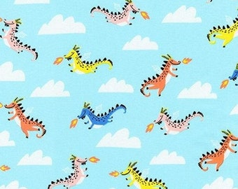 Sale HALF YARD Hello Lucky - Dragons on Blue - By Hello!Lucky for Robert Kaufman - Eunice Moyle and Sabrina Moyle