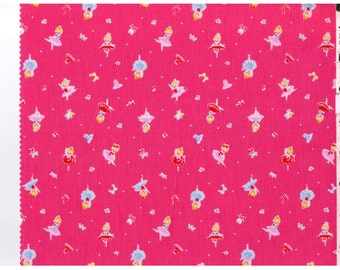 HALF YARD Lecien - Minny Muu Ballerina on Pink -40561-21  Tutu costume, Ballet shoes, tiara, music notes, bows - Japanese Imported Fabric