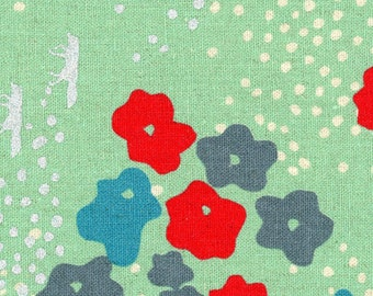 HALF YARD Kokka Echino - Meadow on Mint Green Ekx97010-10B - Silver Metallic Foxes, Natural Dots, Red, Blue Flowers -Fox - Cotton Linen