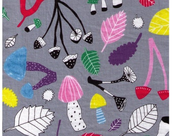 HALF YARD Kobayashi - Bright Mushrooms and Leaves on GREY - 3017305D Cotton Linen - Woodland Toadstools Graphic Lines Dots Plaid- Japanese
