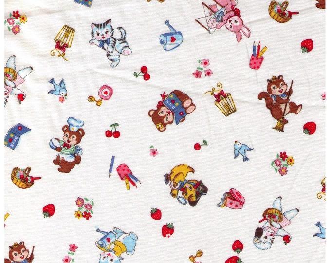 HALF YARD Yuwa - Little Animals Brights on Cream - Bear Kitten Deer Squirrel doing chores, playing 826484A - Atsuko Matsuyama 30s -Japanese