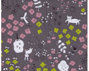 HALF YARD Yuwa - Bunny Fox in Flower Forest on Slate GREY - Megumi Sakakibara Collection 1808-F - Cotton Lawn - Line Drawing - Japanese