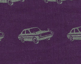 HALF YARD Kokka Echino Nico - Silver Metallic Car on Purple -97050-51C- Cotton Linen