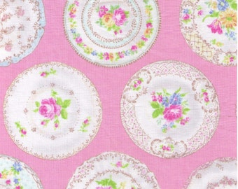 "End of Bolt 23"" Cut - Yuwa Live Life Collection - Beautiful Decorated Plates on Pink 816943-B - Porcelain Dishes China Wedgewood Floral"