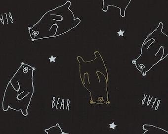 HALF YARD Lecien - Bears and Stars on BLACK w/ Metallic Accents  40747-100 - Koko Seki- Cyururu Choc. Col. - Nylon Taffeta - Japanese Import