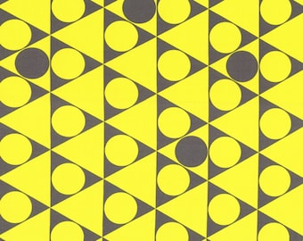 HALF YARD - First of Infinity Collection 31234-50 Gumballs Triangle Circles -Yellow and Grey  - Geometric  Lecien Japanese