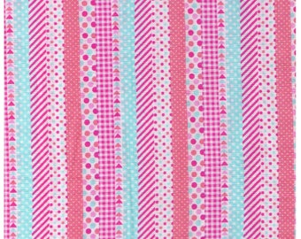 HALF YARD Lecien - Minny Muu Yellow Multi Geo Fun 40674-20 - Pink Peach Blue - Stripes, Triangles, Polka Dots, Washi- Japan Import