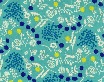 HALF YARD - Echino 2019 - Sprout - Turquoise Colorway 97040 42C - Cotton Linen Sheeting - Animal, Floral, Fox, Cheetah, Geometric, Dot