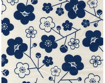 HALF YARD - Sakura on Cream - SK-4400-2H - Teal Blue flowers on Cream - Cotton Oxford - Traditional Geometric Cherry Blossom Japanese