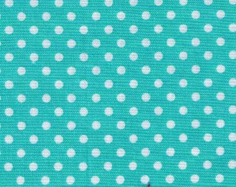 HALF YARD - Lecien - Color Basic - 4505-LL Aqua Pool with White Small Dots - Japanese Import Fabric