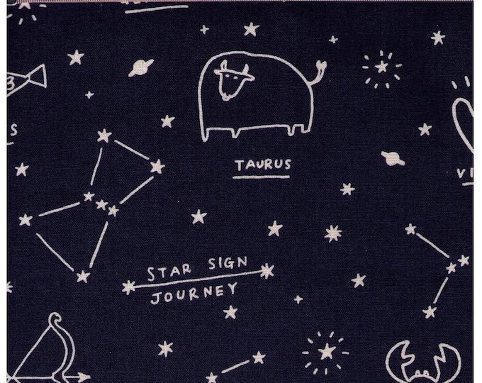 HALF YARD - Zodiac Constellations Natural on NAVY 45700 -Taurus Pisces Gemini Cancer Libra Scorpio Sagittarius Leo Virgo Capricorn - Stars