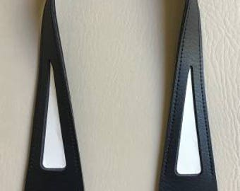 Inazuma - Purse Handle Black - Peakaboo Triangle for Fabric - Cloth Stuck Handles YAS5551-11 - Synthetic Leather - Japanese Imported Notion