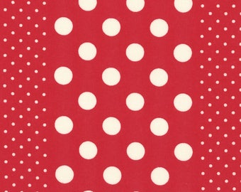 HALF YARD Lecien - Orchard Kitchen 2017 - WHITE Polka Dot Stripes on Red 31740-33 - Japanese Import