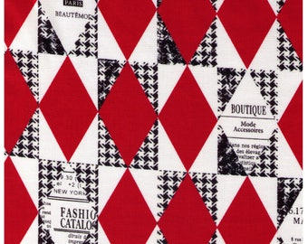 HALF YARD Yuwa - RED Diamond and Houndstooth Cheater - Suzuko Koseki 82678-A - Harlequin, Geometric, Graphic - Japanese Import Fabric