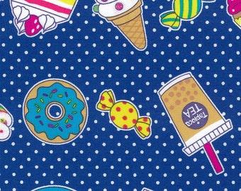 HALF YARD Kiyohara - Pop Sweets on Navy with Glitter - MOWF-117-Nv - Cotton Oxford - Tapioca, Boba Tea, Doughnut, Candy, Drink - Import