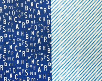 HALF YARD Kokka Echino Nico Fall 2016 - Sign on Blue - Jg90000-103C- Cotton Linen