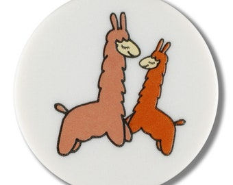 Llama Button - Two Llamas with Dots on White - 15 mm Flat Front Button - Made in Germany - Washable and Dry Cleanable - Alpaca