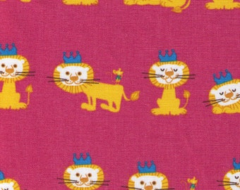 HALF YARD Lion King on Pink 087-P - Crown Lion in Rows - Puti de Pome - Cotton Linen
