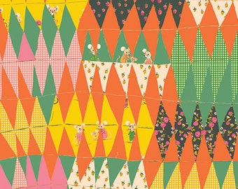 HALF YARD - Trixie Collage - Orange / Green - 50896-1  Trixie by Heather Ross - Windham Fabrics
