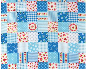 HALF YARD - Cosmo Textiles, Japanese, Blue Patchwork, Flowers, Stripes, Dots, Roses, Gingham - 8787-14B