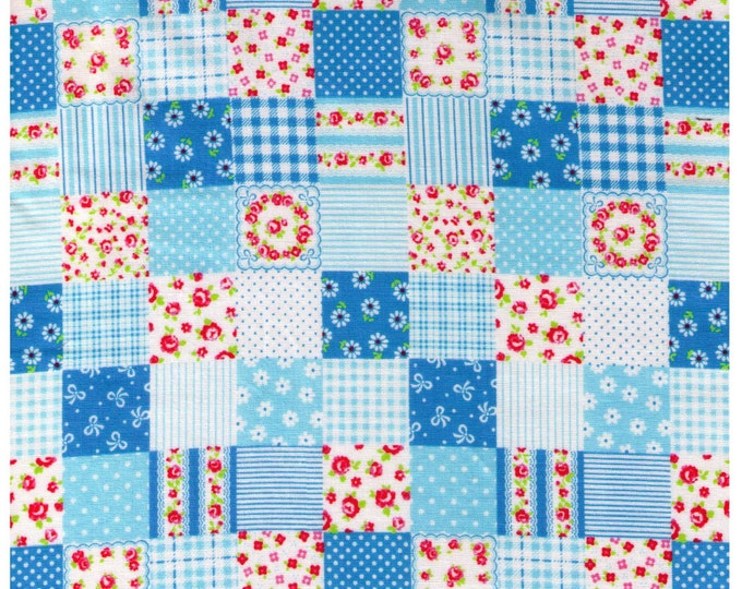 HALF YARD - Cosmo Textiles, Japanese, Blue Patchwork, Flowers, Stripes, Dots, Roses, Gingham