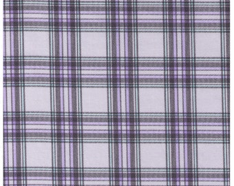 HALF YARD Cosmo Textile - Vanilla Pop Plaid in GREY - Ap81407-E - Cotton Twill - Japanese Import - Grey, Purple, Black, Mint