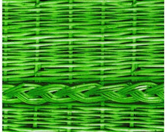 HALF YARD - Photo Realistic Green Basket Weave with Braid, Oxford Cotton - Cosmo Textiles, Japanese Import