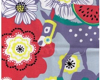 HALF YARD Kiyohara - Kayo Horaguchi - Fruit, Donkeys and Bunnies on BLUE- Strawberry, Watermelon - Cotton Canvas - Imported Japanese Fabric