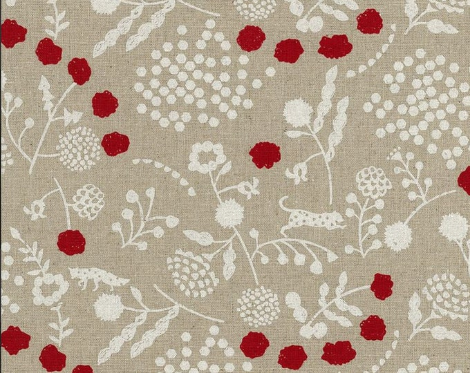 HALF YARD Kokka Echino - SPROUT Ekx97000-701A - Red and White on Natural - Jaguar, Fox, Seed Pods, Hexagons - Cotton Linen