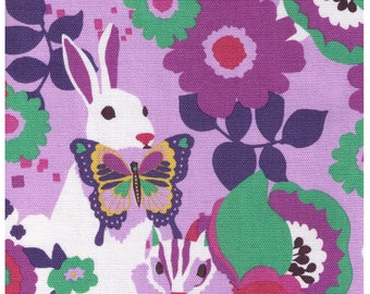 HALF YARD - Kayo Horaguchi - Bunny and Chipmunks on PURPLE - Kiyohara Imported Japanese - Butterfly, Rainbow, Flowers, Garden, Animals
