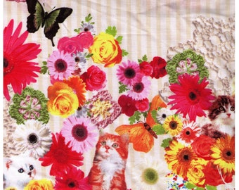 HALF YARD Kokka - Cats, Flowers and Butterlies - 3033-1A - Photo Realistic Candy Party - Cotton Sheeting