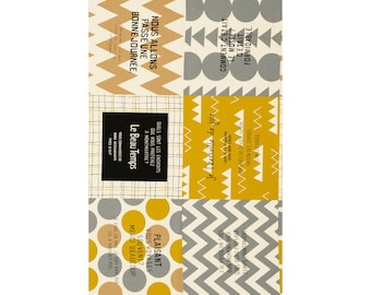PANEL Lecien - Cotton Style 2017 - French Travel Large Square Cheater Grey/Yellow - 40873-10 - Canvas Japanese Import