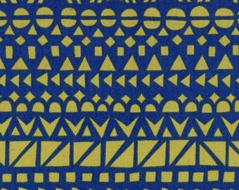 HALF YARD Ellen Baker - Roughcut 42500-500C - Mosaic Blue and Yellow - Cotton Linen Canvas  - Kokka  Japanese