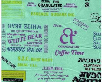 "End of Bolt - 46"" Cut - Yuwa - Flour Sack Text Aqua Mint Blue - Suzuko Koseki - Purple Japanese Import - Coffee Sugar Cane Wile Rice Sugar"