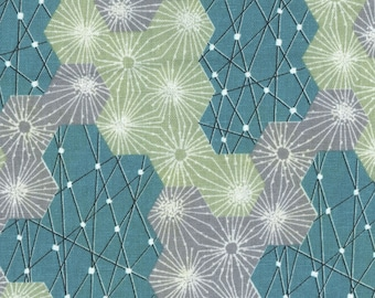 HALF YARD Kokka - Tayutou - Dewdrop - Teal Colorway - 5110-5B - Cotton Linen Blend - Geometric, Abstract