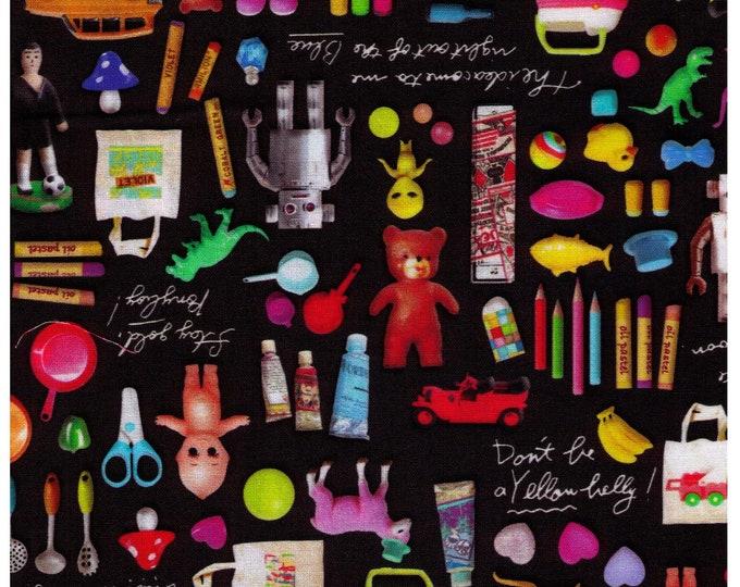 HALF YARD Photo Realistic Toys on Black- Digitally Printed -  Kewpie Doll, Alien, Dino, Robot, Rubber Ducky, Mushroom - Cosmo Textile Japan