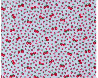 HALF YARD Yuwa - Mini and Petite Red Strawberries on Light Blue  826017-C- Atsuko Matsuyama 30s collection - Perfect for tiny Zakka projects